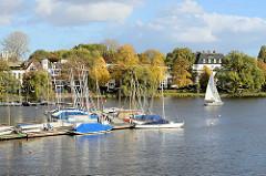 Blick von der Krugkoppelbrücke auf die Hamburger Aussenalster und dem Segelboothafen an der Fernsicht. Im Hintergrund Stadtvillen an der Bellevue in Hamburg Winterhude.