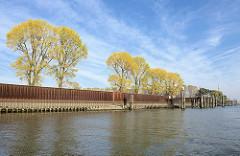 Petroleumhafen Hamburg - Eisenspundwand am Ufer - hohe Bäume mit Herbstlaub. Der Petroleumhafen soll im Rahmen der Hamburger Hafen-Westerweiterung zugeschüttet und als Container-Terminal genutzt werden.