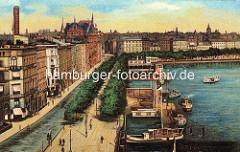 Alte colorierte Darstellung vom Jungfernstieg an der Hamburger Binnenalster. Alsterdampfer am Anleger beim Alsterpavillion, Geschäftshäuser an der Alster.
