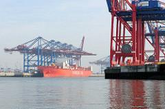 Blick vom Hamburger Petroleumhafen in den Waltershofer Hafen.