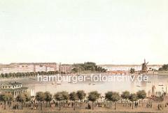 Hamburgensie von der Hamburger Binnenalster - am Jungfernstieg promenieren die HamburgerInnen unter Bäumen, lks. der Alsterpavillion und der Neue Jungfernstieg - am Ende der historischen Häuserzeile das Amsinck'sche Stadthaus mit seinen neugotisc