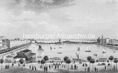 Hamburgensie von der Binnenalster - Promenade am Alsterufer / JungfernstiegSegelboote auf der Alster - Windmühle an der Lombardsbrücke.
