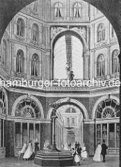 Innenansicht vom Sillem's Bazar am Hamburger Jungfernstieg - Deutschlands erste grosse Einkaufspassage - Architekt Eduard Averdieck. Das Gebäude wurde 1881 abgerissen und dort das Luxushotel Hamburger Hof errichtet.