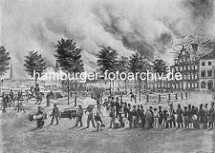 Beim Grossen Brand in Hamburg 1842 werden Häuser am Jungfernstieg gesprengt, um den Brand aufzuhalten.