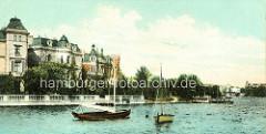 Historisches Bild von Hamburg Winterhude - Segelboote auf der Aussenalster, Villen am Ufer an der Bellevue.