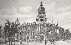 Historische Ansicht vom Gebäude der Oberpostdirektion am Hamburger Stephansplatz, fertiggestellt 1887 - Entwürfe Julius Carl Raschdorff / Skulpturen Bildhauer Engelbert Pfeiffer.