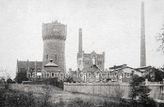 Historische Ansicht vom Elektrizitäts- und Wasserwerk in Oranienburg - lks. der Wasserturm.