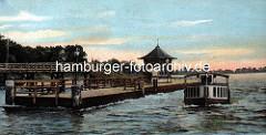 Coloriertes historisches Motiv von der Aussenalster in der Hansestadt Hamburg - Alsterdampfer in Fahrt vor dem Anleger Rabenstrasse mit Wartepavillon.