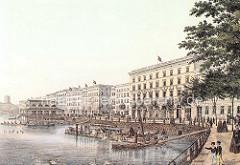 Geschäftshäuser / Kontorhäuser am Jungfernstieg - nach dem Hamburger Brand von 1842 erstellt; Bootsanleger mit Ausflugsboot am Steg; Ruderboote vor dem Alsterpavillion.