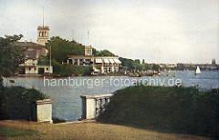 Farbige, historische Darstellung vom Uhlenhorster Fährhaus - Blick von der Bellvue über den Langen Zug.