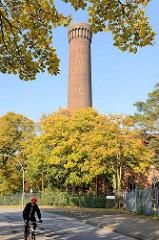 Herbstbäume am Billhorner Deich - historischer Ziegelturm / Wasserturm in Hamburg Rothenburgsort, erbaut 1848 nach Plänen von  Alexis de Chateauneuf  entworfen und vom Ingenieur William Lindley erbaut.
