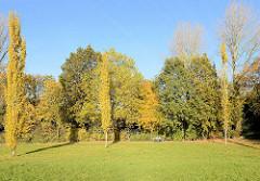 Bäume mit Herbstlaub und Parkbesucher auf einer Bank in Traunspark von Hamburg Rothenburgsort. Der Traunspark ist mit einer der ältesten Parks Hamburgs; im 18. Jhd. von Senator Friedrich Traun eingerichtet.