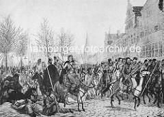 Historische Abbildung zur Hamburger Franzosenzeit 1806 / 1814 - Befreiung der Hansestadt durch die russischen Truppen; Kosaken reiten auf dem Jungfernstieg.