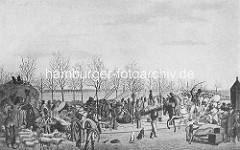 Historische Abbildung zur Hamburger Franzosenzeit 1806 / 1814 - Soldaten marschieren auf dem Jungfernstieg. Von den Franzosen requirerte Schafe werden über die Strasse getrieben - vertriebene HamburgerInnen tragen ihre Habe.