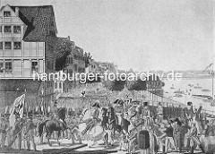 Historische Abbildung zur Hamburger Franzosenzeit 1806 / 1814 - Soldaten marschieren auf dem Jungfernstieg; Boote auf der Binnenalster.