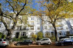 Mehrstöckige Gründerzeit-Wohnhäuser in der Sierichstrasse von Hamburg Winterhude - hohe Strassenbäume mit gelben Blättern, Herbst mit blauem Himmel.