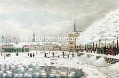 Winter an der Hamburger Binnenalster - Schwäne im Wasser, zugefrorene Alster, Spaziergänger und Schlitten. Im Hintergrund Gebäude am Alsterdamm.