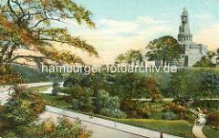 Grünanlage, ehem. Wallanlage an der Helgoländer Allee in der Hamburger Neustadt, Grenze zu St. Pauli - Bismarck Denkmal auf der Elbhöhe.