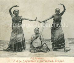 Altes Bild, J. & G. Hagenbeck's Malabaren Truppe; Indische Völkerschau, Inderin in Sari -  Sitar.