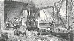 Alte Darstellung / Zeichnung von der Arbeit am Hafenkai im Hamburger Hafen / Sandtorhafen. Ein Dampfkran löscht die Fracht eines Schiffs, Fässer liegen auf dem Kai und der Laderampe. Ein Hafenarbeiter transportiert Kiste   und Fass mit einer Schub