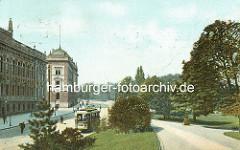 Ringstrasse mit Strassenbahn an den Hamburger Wallanlagen / jetzt Gorch - Fock - Wall.