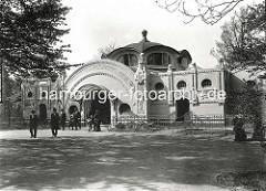Jugendstilarchitektur im Hamburger Tiergarten / Zoologischer Garten am Dammtor, Straussen und Stelzvögelhaus.