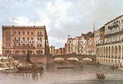 Historische Ansicht der Schleusenbrücke ca. 1845 - ein Ewer liegt an den Treppen der Kleinen Alster - re. die Colonnaden.