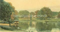 Großer Teich im Zoologischer Garten am Dammtor / Wallanlagen, historische colorierte Ansicht.