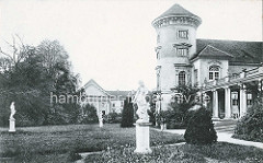 Historische Darstellung - Rheinsberger Schloss, Skulpturen im Schlossgarten.