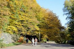 Spaziergänger unter Herbstbäumen in den Hamburger Wallanlagen / Planten un Blomen.