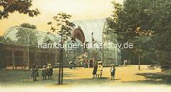 Hamburger Tiergarten am Dammtor - Raubvogelhaus, grosser Käfig - Kinder.