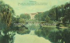 Historische Hamburger Ansicht von den Wallanlagen beim jetzigen Brahmsplatz.
