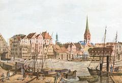 Historische Darstellung der Kleinen Alster in Hamburg - Lastkähne, Ewer  liegen am Holzsteg; lks. der Durchfluss der Alster. In der Bildmitte die St. Jacobikirche, re. der Kirchturm der St. Petrikirche.