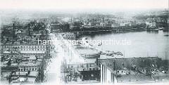 Altes Luftbild von der Hamburger Neustadt an der Binnenalster; Blick auf den Jungfernstieg und Neuen Jungfernstieg.
