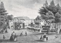 Ein Leichenzug bewegt sich durch das Dammtor zu den Begräbnisstätten ausserhalb der Wallanlagen; Pferde ziehen den offenen Sargwagen, Männer mit weisser Halskrause bilden den Begräbniszug. Eine Kutsche fährt durch das Tor, Soldaten präsentieren d