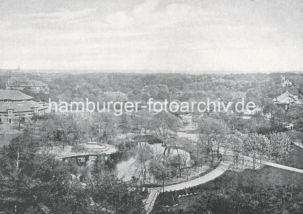 Merveilleux Historische Luftaufnahme Vom Hamburger Zoologischen Garten Am Dammtor, Lks.  Ist Die Ruine Vom Eulenturm Zu Erkennen.