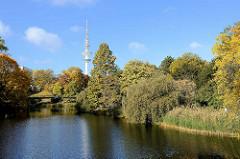 Grünanlage in der Hamburger Innenstadt - Herbst in den Wallanlagen, Teich als Rest der Befestigungsanlage - Fernsehturm.