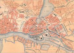 Historischer Plan von der Hansestadt Hamburg - Lauf der Elbe / Alster, Hafenanlagen und Reste vom Wallring; ca. 1890.