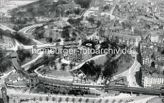 Luftaufnahme der historischen Seewarte und Hochbahnhaltestelle Landungsbrücken. Lks. unten der Uhrenturm / Pegelturm der Landungsbrücken und das St. Pauli Fährhaus; dahinter die Kersten Miles Brücke und die Elbhöhe mit dem Bismarckdenkmal.