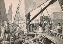 Alte Darstellung vom Altonaer Fischmarkt - lebende Schollen werden aus einem Kutter verkauft.