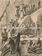Historische Darstellung vom Altonaer Fischmarkt - ein Stör-Fang wird an Land gebracht, die grossen Fische werden mit einer Säge geteilt.