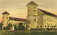 Historische Darstellung vom Schloss Rheinsberg - Hauptflügel mit Schlosstürmen.