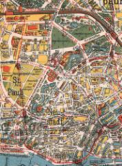 Alter Hamburger Stadtplan von ca. 1920 - Ansicht der Wallanlagen, Begräbnisplätze am Dammtor und dem Tiergarten; unten die Elbe mit den St. Pauli Landungsbrücken.