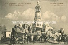 Carl Hagenbeck's Tierpark Stellingen - Berittene Beduinen vor der Moschee; Reiter auf Pferden und Maultieren.