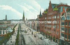 Historische Bilder aus der Hamburger Innenstadt / Neustadt - Blick über den Jungfernstieg Richtung Alsterdamm, Bergstrasse. Rechts das Gebäude Hamburger Hof, lks. der Alsterpavillon - Kutschen und Strassenbahnen fahren auf dem Jungfernstieg.