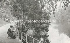 Eine Malerin sitzt auf einem Schemel am Stadtgraben in den Hamburger Wallanlagen - im Hintergrund die Kuppel von der Oberpostdirektion.