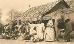 Indische Völkerschau / Hagenbeck; Gruppe Inder mit Kindern und Elefanten vor einer Strohhütte.