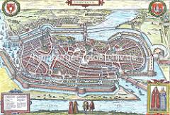 Befestigungsanlage der Hansestadt Hamburg - alte Karte 16. Jahrhundert.