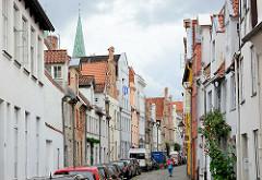 Wohnhäuser in der Hundestrasse von Lübeck.