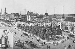 Historisches Luftbild von der Reeperbahn und dem Spielbudenplatz in Hamburg St. Pauli - Pferdekutschen und Strassenbahn auf der Reeperbahn - re. das Ernst Drucker Theater und lks. der Turm der St. Michaeliskirche und dem Trichter.